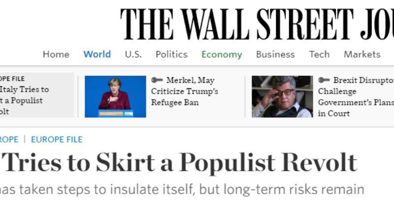 Wall Street Journal: imprese italiane sotto-capitalizzate e banca-dipendenti. Plebiscito.eu Club per uscire da nanismo e improvvisazione.